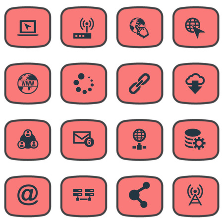 Vector Illustration Set Of Simple Network Icons Stock Illustration - 82343074