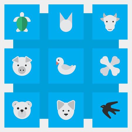 Vector illustratie Set van eenvoudige dieren pictogrammen. Elementen Wolf, Schildpad, Skelet en Andere Synoniemen Tomcat, varkens en hond. Stock Illustratie