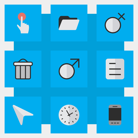 Vector Illustration Set Of Simple Menu Icons. Elements Female, Mars Sign, Pointer And Other Synonyms Junk, Trash And Man.