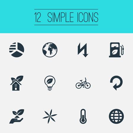 簡単エコ アイコンのベクター イラスト セット。要素のリサイクル、エコの家、惑星、他の同義語自転車自転車し、気に。
