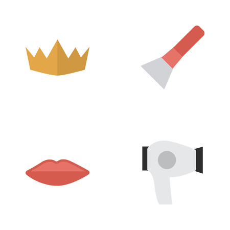 Elements Brush, Crown, Drying Machine And Other Synonyms Crown, Coloring And Lipstick. Vector Illustration Set Of Simple Beauty Icons.
