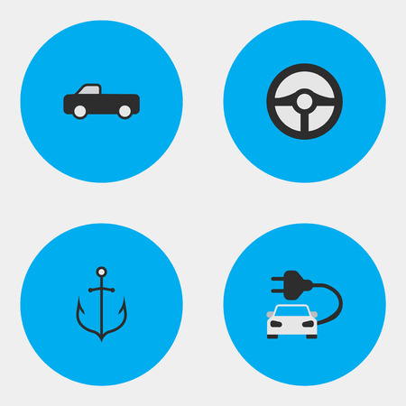 Elements Charge, Truck, Armature And Other Synonyms Automobile, Armature And Iron. Vector Illustration Set Of Simple Transportation Icons. Illustration