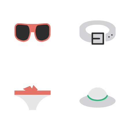 Elements Lingerie, Female Cap, Strap And Other Synonyms Hat, Belt And Sunglasses. Vector Illustration Set Of Simple Instrument Icons.