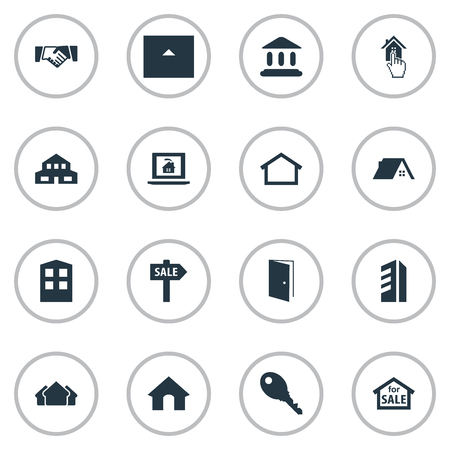 domicile: Elements High-Rise, Choose, Doghouse And Other Synonyms Entrance, Sale And Hut. Vector Illustration Set Of Simple Property Icons.