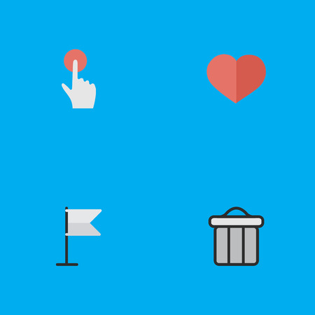 Elements Heart, Switch Knob, Banner And Other Synonyms Junk, Bin And Soul. Vector Illustration Set Of Simple Interface Icons.