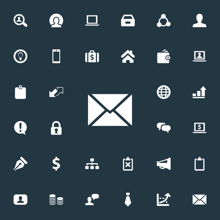 Vector Illustration Set Of Simple Business Icons. Elements Cooperation, Chatting, Monitor And Other Synonyms Letter, Box And Representative.