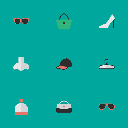 Vector Illustration Set Of Simple Equipment Icons. Elements Sport Hat, Sunglasses, Handbag Synonyms Eye, Handbag And Glasses. Illustration