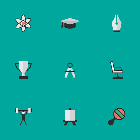 Elements Bodybuilding, Measurement Dividers, Armchair And Other Synonyms Atom, Seat And Molecule. Vector Illustration Set Of Simple Education Icons.