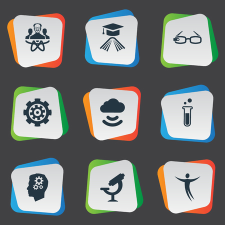 Vector Illustration Set Of Simple Creativity Icons. Elements Mechanism, Physicist, Remote Storage And Other Synonyms Instrument, Optical And Freedom.