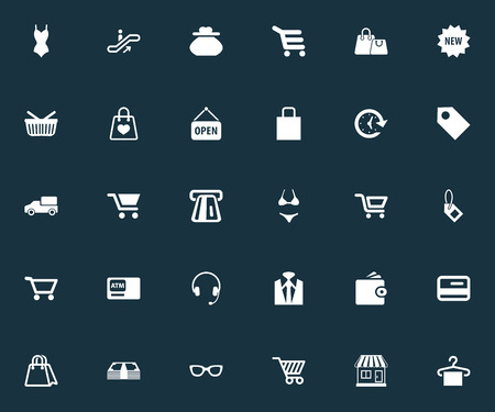 Vector Illustration Set Of Simple Basket Icons. Elements Sack, Carriage, Swimsuit And Other Synonyms Purchase, Pouch And Purse.
