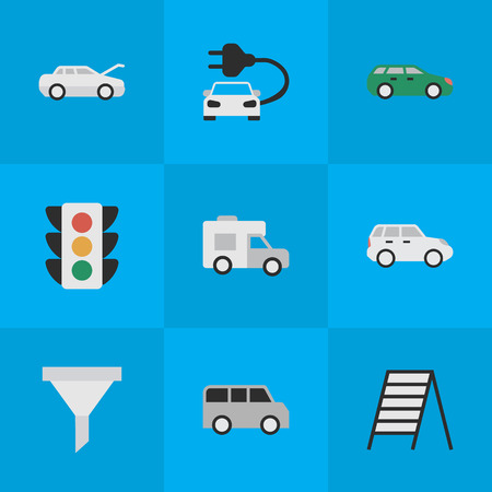 Elements Traffic Lights, Automobile, Suv And Other Synonyms Stairway, Auto And Minibus. Vector Illustration Set Of Simple Traffic Icons.