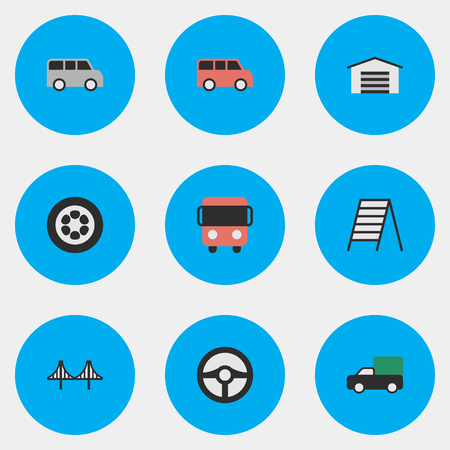 Vector Illustration Set Of Simple Shipping Icons. Elements Family, Autobus, Bridgework And Other Synonyms Bridgework, Jumper And Delivery.