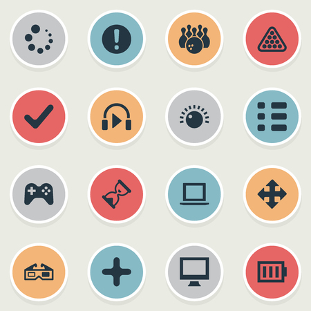 Vector Illustration Set Of Simple Play Icons. Elements Plus, Monitor, Sound And Other Synonyms Signpost, Save And Computer.