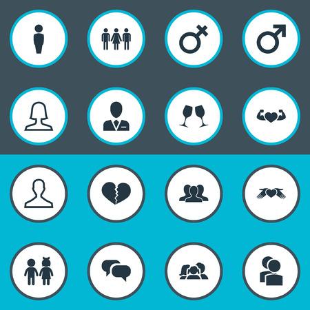 Vector illustratie Set van eenvoudige pictogrammen. Elements Mister, Barrister, Candidate Synoniemen Candidate, People And Woman.