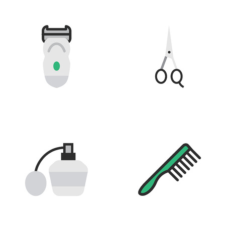 Vector Illustration Set Of Simple Barber Icons. Elements Scissors, Electronic, Hairbrush And Other Synonyms Comb, Machine And Fragrance.