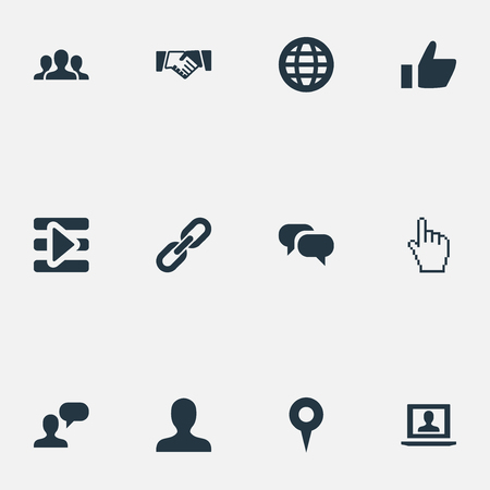 Vector Illustration Set Of Simple Social Icons. Elements Agreement, Profile, Team And Other Synonyms Pin, Social And Deal.