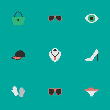 벡터 일러스트 레이 션 간단한 장비 아이콘의 집합입니다. 요소 눈 액세서리, 선글라스, 보석 및 기타 동의어 목걸이, 구두와 안경.