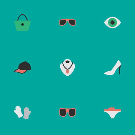 Vector Illustration Set Of Simple Equipment Icons. Elements Eye Accessory, Sunglasses, Jewelry And Other Synonyms Necklace, Shoe And Glasses. Иллюстрация