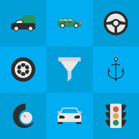 シンプルな交通アイコンのベクター イラスト セット。ストレーナーと他の類義語スポーツ ステアリング要素アーマチュア ガレージと車。 写真素材 - 82620146