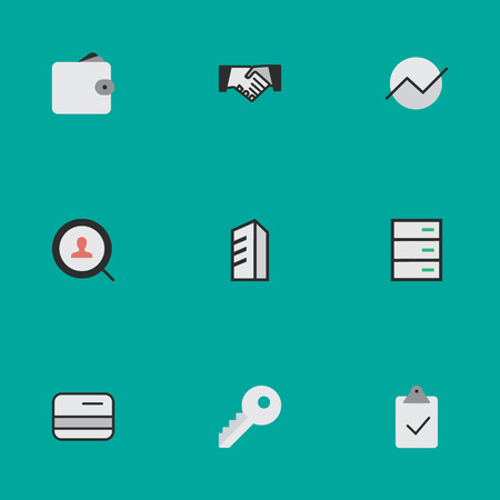 Vector Illustration Set Of Simple Trade Icons. Elements Done, Opening, Apartment And Other Synonyms Pay, Wallet And Key.