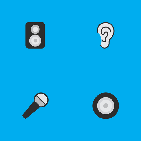 Vector Illustration Set Of Simple  Icons. Elements Loudspeaker, Listen, Mike And Other Synonyms Loudspeaker, Loudspeakers And Mike.