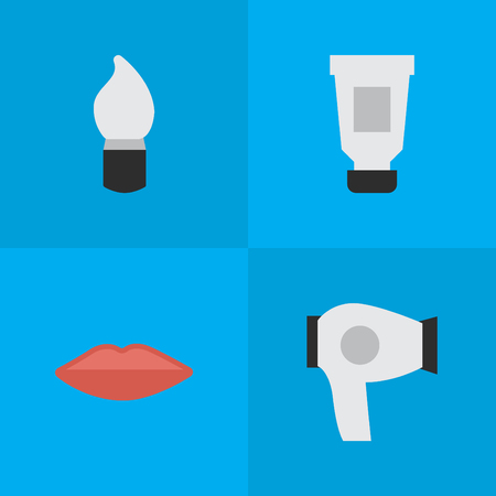 Vector Illustration Set Of Simple Beauty Icons. Elements Scrub, Lips, Drying Machine And Other Synonyms Kiss, Lipstick And Bottle.