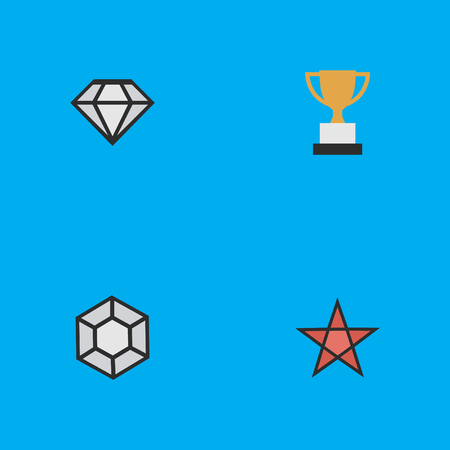 Vector Illustration Set Of Simple Champion Icons. Elements First, Diamond, Goblet And Other Synonyms Precious, Star And First.