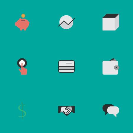 벡터 일러스트 레이 션 간단한 작업 아이콘의 집합입니다. 요소 다이어그램, 손가락 감동, 지갑 및 기타 동의어 손, 지갑 및 만지는.