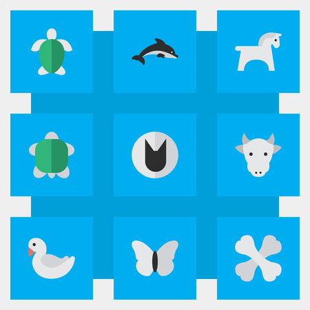 Vector Illustration Set Of Simple Wild Icons. Elements Steed, Kine, Fish And Other Synonyms Fish, Milk And Tortoise.