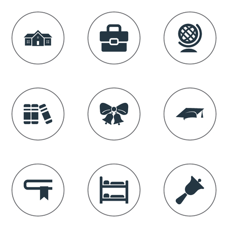 Vector Illustration Set Of Simple School Icons. Elements Handbag , Break, Nursering Furniture Synonyms Globe, Document And Break.