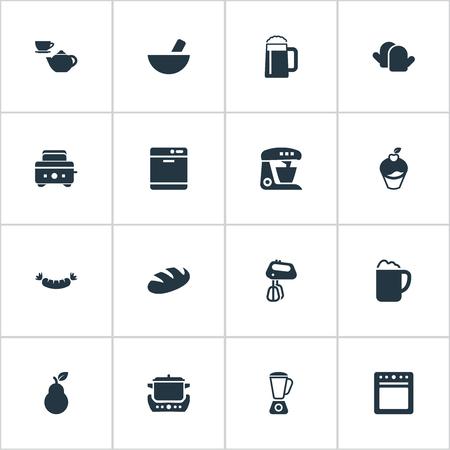 シンプルな料理のアイコンのベクトル イラスト セット。要素は、パン、ビヤホール、ソーセージを焼き、他の同義語を設定、熟考し、手袋します。