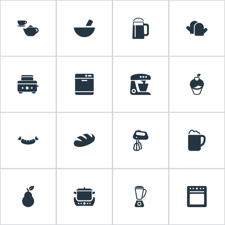 Vector Illustration Set Of Simple Cuisine Icons. Elements Roasted Bread, Beerhouse, Sausage And Other Synonyms Set, Ponder And Glove.