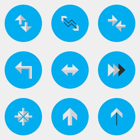 벡터 일러스트 레이 션 간단한 표시기 아이콘의 집합입니다. 안쪽, 앞으로, 커서 및 기타 동의어가 켜지고 인터넷과 가져 오기 요소. 일러스트