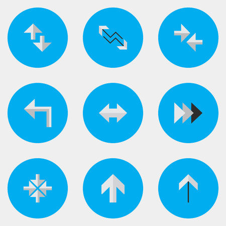 Vector Illustration Set Of Simple Indicator Icons. Elements Inside, Onward, Cursor And Other Synonyms Turn, Internet And Import. 向量圖像