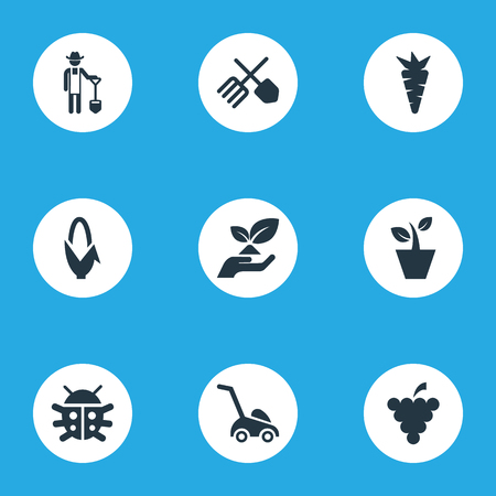 Vector Illustration Set Of Simple Gardening Icons. Elements Root, Rescue Nature, Flowerpot And Other Synonyms Horticulture, Corn And Vegetable.