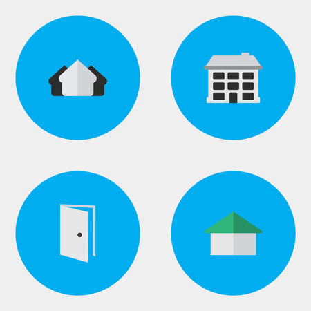 garage on house: Vector Illustration Set Of Simple Property Icons. Elements Entry, Structure, Architecture And Other Synonyms Estate, Building And Open.