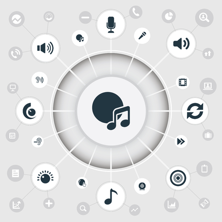 Vector Illustration Set Of Simple Music Icons. Elements Note, Partymaker, Sound And Other Synonyms Web, Disk And Rewind.