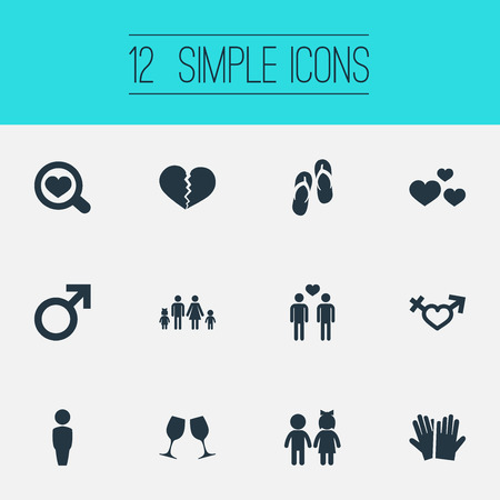 Vector Illustration Set Of Simple Lovers Icons. Elements Beach Sandals, Wineglass, Glove Synonyms Sandal, Men And Flop. 向量圖像