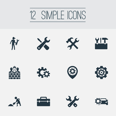 toolkit: Vector Illustration Set Of Simple Repairing Icons. Elements Toolkit, Repairing, Pin And Other Synonyms Tools, Worker And Handbag. Illustration