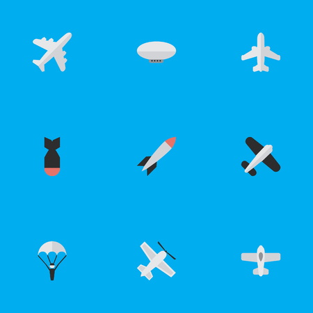 Vector Illustration Set Of Simple Airplane Icons. Elements Plane, Balloons, Catapults And Other Synonyms Flying, Airplane And Catapults.