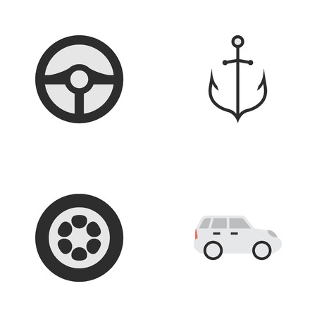 Vector Illustration Set Of Simple Transportation Icons. Elements Wheel, Armature, Steering And Other Synonyms Crossover, Iron And Steering. Illustration