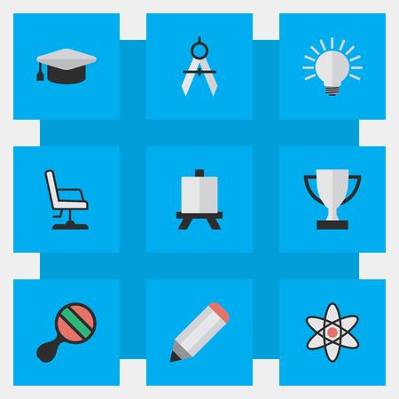 Vector illustratie Set van eenvoudige kennis iconen. Elements Easel, Measurement Dividers, Pen And Other Synoniemen Drawing, Compass And Pen. Stockfoto - 82616260