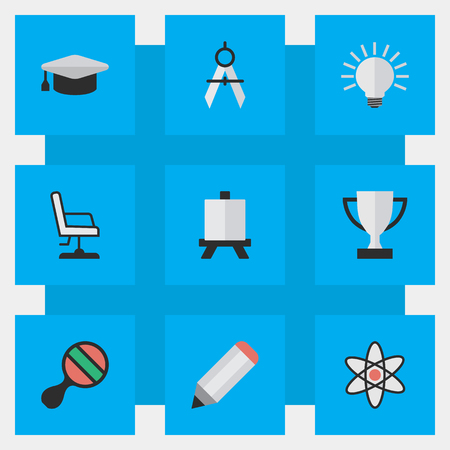 best book: Vector Illustration Set Of Simple Knowledge Icons. Elements Easel, Measurement Dividers, Pen And Other Synonyms Drawing, Compass And Pen.
