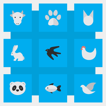 Vector Illustration Set Of Simple Animals Icons. Elements Sparrow, Cock, Foot And Other Synonyms Swallow, Bird And Rooster. Illustration