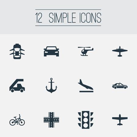 単純な交通機関アイコンのベクター イラスト セット。要素のタクシー、自動、ハッチバックと他セーリング類義語、ベロシペードと光。