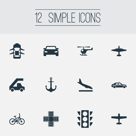 Vector Illustration Set Of Simple Transport Icons. Elements Cab, Auto, Hatchback And Other Synonyms Sailing, Velocipede And Light.