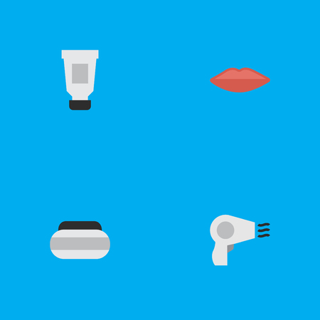 Vector Illustration Set Of Simple Elegance Icons. Elements Blow-Dryer, Lips, Toothpaste And Other Synonyms Drying, Cream And Toothpaste. Illustration