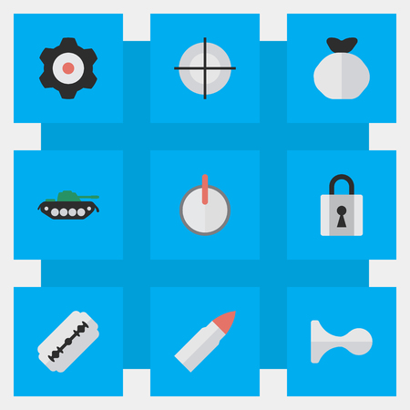 Vector Illustration Set Of Simple Crime Icons. Elements Cogwheel, Shot, Closed And Other Synonyms Sniper, Padlock And Military. Ilustração