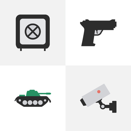bullet camera: Vector Illustration Set Of Simple Offense Icons. Elements Vault, Supervision, Military And Other Synonyms Vault, Military And Protected.