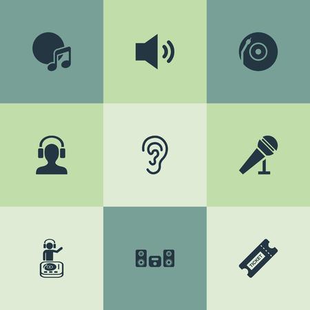 Vector illustratie Set van eenvoudige geluidspictogrammen. Elementen Playboy, platenspeler, album en andere synoniemenluidspreker, nummer en hoofdtelefoon.